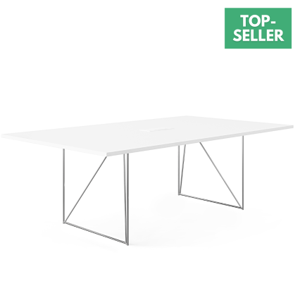 Konferenztisch Ben - Die klassisch weiße Oberfläche besteht aus kratzfestem Melamin. Das Gestell ist ein filigranes, verchromtes Metallgestell. Inkl. Kabelklappe und installierter Kabelwanne.