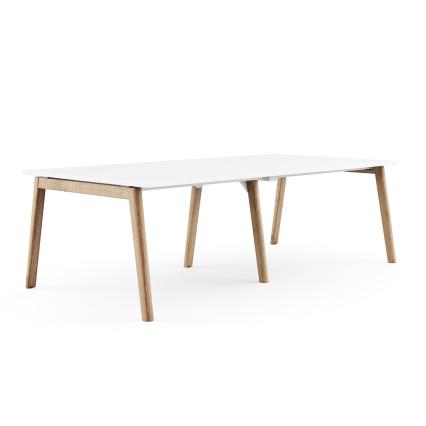 Konferenztisch Max - Modernes Bürodesign mit klassisch weißer Platte und Echtholz-Eschengestell. Flexibel nutzbar in Meetingräumen oder für Teams. Mit integriertem Kabelmanagement.