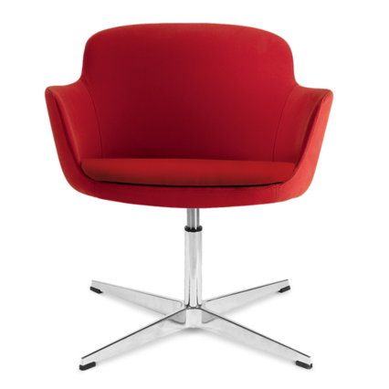 Lounge-Chair Kimberly - Komfortables Design-Element mit Chrom-Gestell und rotem Polster