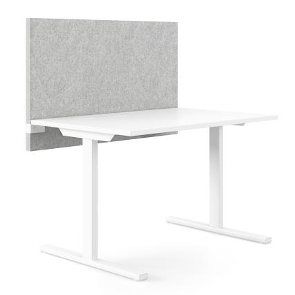 Tischtrennwand Aaron - Akustikelement zur flexiblen Trennung von Arbeitsplätzen und effizienten Dämmung von Geräuschen. Die Wand lässt sich höhenverstellbar am Schreibtisch befestigen.