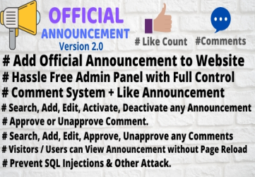 Official Announcement Snippet with Admin Panel