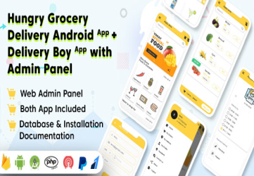 Hungry Grocery Delivery Android App and Delivery Boy App with Interactive Admin Panel
