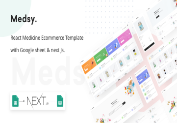 Medsy - React Medicine Ecommerce Template with Google sheet & Next JS.