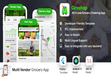 Grocery Flutter App Template | 3 Apps | User App + Seller App + Delivery App | GroShop
