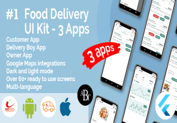 Food Delivery UI Kit in Flutter - 3 Apps - Customer App + Delivery App + Owner App