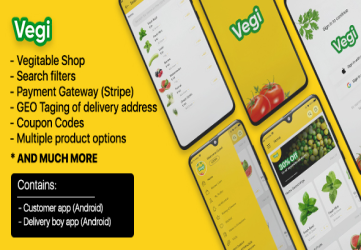 Vegi - The Ultimate Grocery - Food - Milk Ordering app with Delivery boy & Admin : Android / Laravel