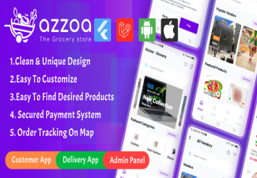 Azzoa - Grocery, MultiShop, eCommerce Flutter Mobile App with Admin Panel