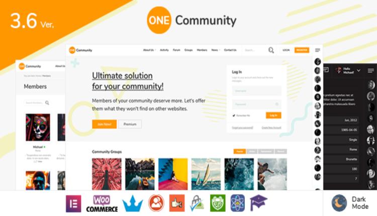 OneCommunity - BuddyPress Membership Theme