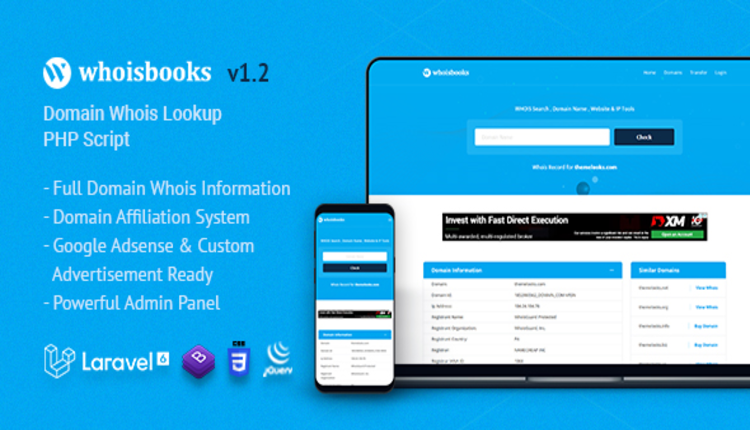 WhoisBooks | Domain Whois Lookup PHP Script