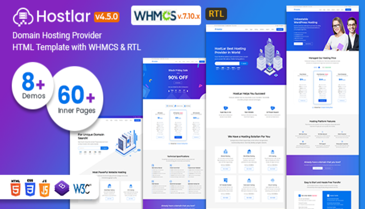 Hostlar – Domain Hosting Provider HTML Template with WHMCS and RTL