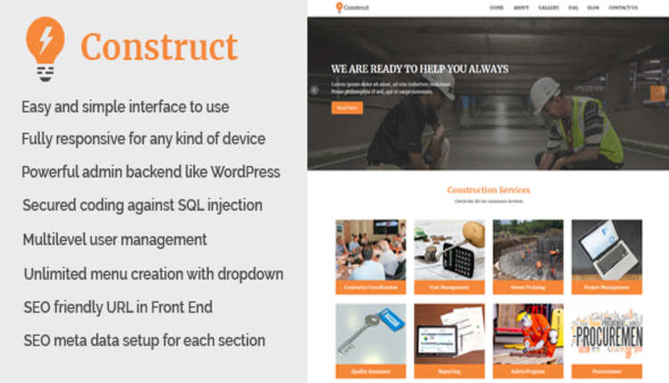 Construct - Building and Construction Website CMS