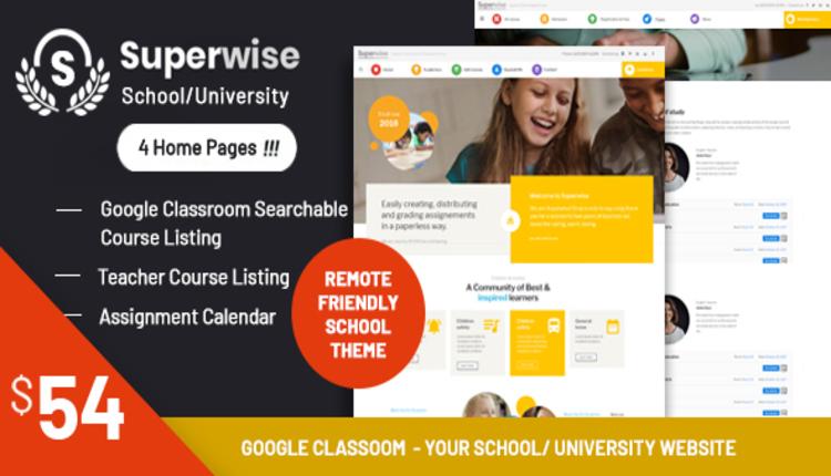 Superwise - Modern Education and Google Classroom WordPress Theme