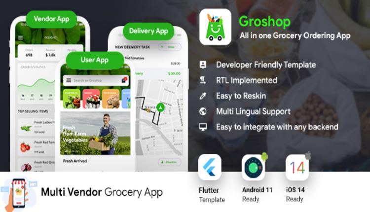 Grocery Flutter App Template | 3 Apps | User App + Seller App + Delivery App | GroShop