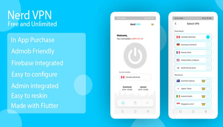 Nerd VPN : Flutter VPN Android Full Application with IAP, Integrated with Backend and Admin Panel