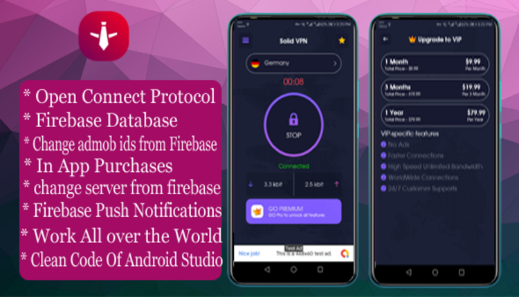 Solid VPN With Firebase Database And OPEN CONNECT PROTOCOL