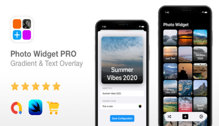 Photo Widget PRO - AdMob Ads, In-App Purchases, Text/Gradient Overlay