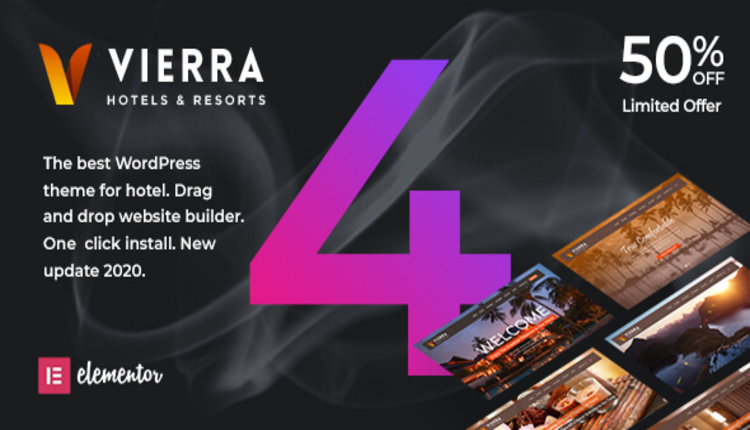 Vierra - Hotel, Resort, Inn & Booking Elementor WordPress Theme