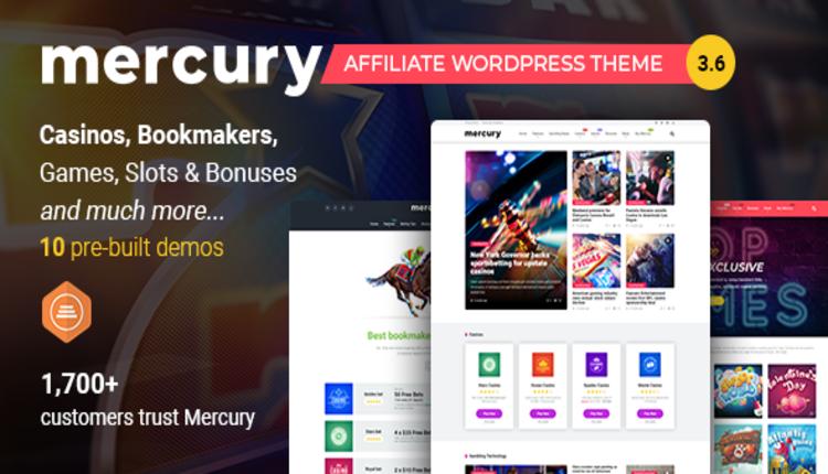 Mercury -  Gambling & Casino Affiliate WordPress Theme. News & Reviews