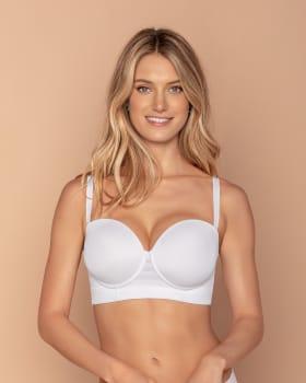 lace stripe underwire push up bra - support strapless--MainImage