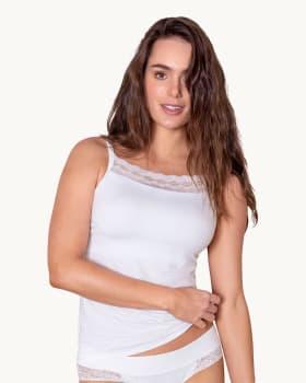 camiseta multifuncional con buen cubrimiento de busto - ideal para protesis de mastectomia-000- White-MainImage