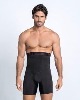 leo high waist stomach shaper with boxer brief-700- Black-MainImage