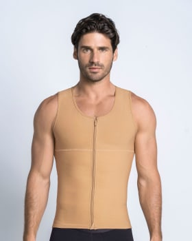 mens firm compression shaper vest with back support - maxforce-864- Nude-MainImage
