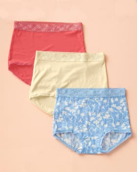 paquete x 3 calzones clasicos con toques de encaje-S17- Estampado / Coral / Marfil-MainImage