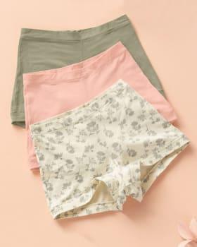 simply comfortable 3-pack boyshort panty in cotton-S22- Arena / Rosado / Estampado-MainImage