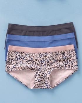 3-pack low-rise cotton boyshort panty-S30- Azul Medio / Gris / Rosado Estampado-MainImage