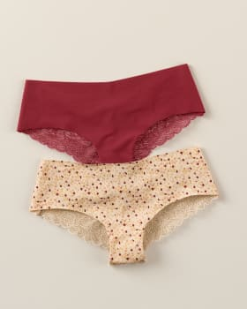 2-pack cheeky lace knickers-S34- Rojo Oscuro / Marfil Estampado-MainImage