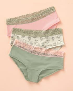 3-pack hipster-style panties with waistline lace trim-S02- Arena / Rosado / Estampado-MainImage