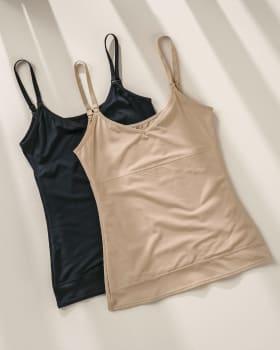 paquete x 2 blusa de control de abdomen y espalda - una figura moldeada al instante-S02- Negro / Cafe Claro-MainImage