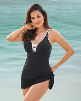 vestido de bano con falda multiestilo con control suave de abdomen-700- Black-ImagenPrincipal