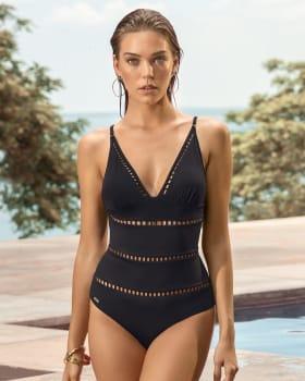 vestido de bano entero con control de abdomen y franjas decorativas y copas extraibles-700- Black-MainImage