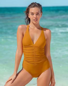 increible vestido de bano de una pieza con drapeado y control fuerte en abdomen--MainImage