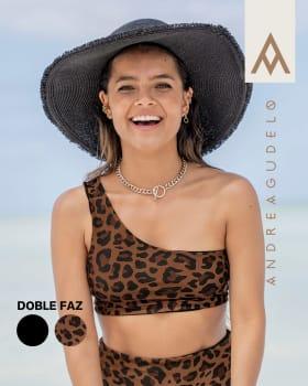 top de bikini doble faz elaborado con pet reciclado-206- Negro / Estampado-MainImage
