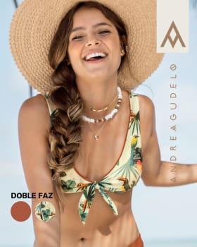 top de bikini doble faz con espalda enresortada elaborado en pet reciclado-088- Estampado Hojas-MainImage