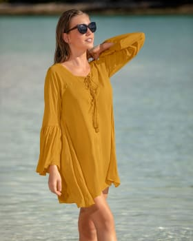 short plunge beach cover-up dress-101- Mustard-MainImage