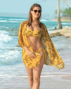 34 sleeve sheer beach cover up-161- Naranja Medio-MainImage