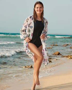 long sleeve beach kimono-662- Verde Medio-MainImage