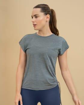 quick dry womens sports t-shirt - side drape-727- Gris Jaspe-MainImage