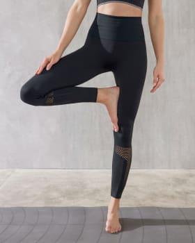 high waist sports leggings - double-layered waistband and breathable legs-700- Black-MainImage