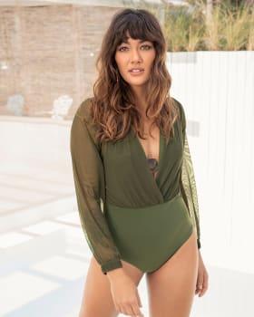 vestido de bano con body interior y mangas sobrepuestas en tul-629- Verde Medio-MainImage