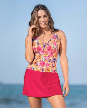 vestido de bano de control suave con fajon multiusos incorporado-263- Estampado Flores-MainImage