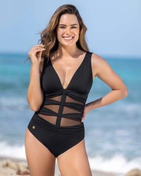 vestido de bano de control suave y con copas removibles y abdomen en tul-700- Negro-MainImage