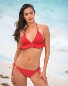 ruffle top solid string bikini-372- Coral-MainImage