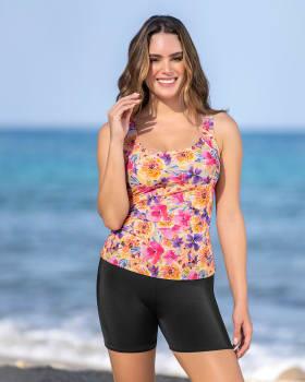 vestido de bano de 2 piezas con camiseta y short corto-263- Estampado Flores-MainImage