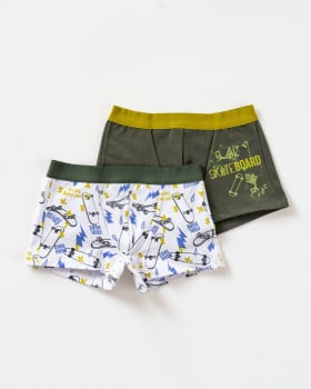 paquete x2 boxers en algodon para ninos-S42- Blanco Estampado / Fondo Verde-MainImage