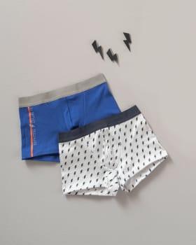 paquete x2 boxers en algodon para ninos-S43- Blanco Estampado / Fondo Azul-MainImage