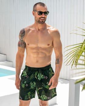 eco-friendly mens swim trunks - made of recycled plastic bottles-701- Black-MainImage